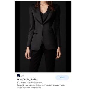 Burberry blazer. Burberry wool plaid trim Coat
